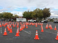 Cones are laid out in the Sunrise Mall parking lot, as part of the Citrus Heights Police Department's motorcycle competition.