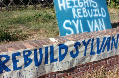 Sign in support of rebuilding Sylvan Middle School in Citrus Heights