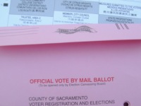 Vote-by-mail ballot, stock photo.