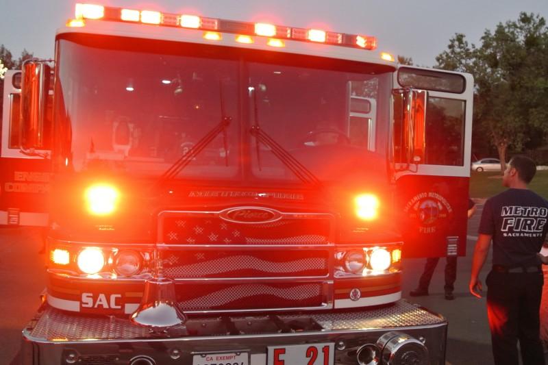 Sac Metro Fire truck, fireman. Photo credit: Luke Otterstad