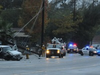Citrus Heights police and SMUD crews respond to the Antelope Road accident, Thursday morning.