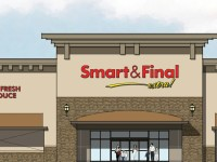 An artistic rendering from Planning Commission documents, showing the proposed new Smart & Final Extra! store at the old Capital Nursery site.