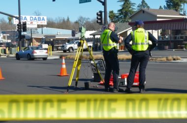 Police line, crash, pedestrian. Auburn Blvd. Citrus Heights. Photo by Luke Otterstad