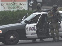 Citrus Heights police SWAT team members block off a portion of Kanai Ave, Tuesday.