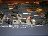 Photo released by Citrus Heights police, showing various weapons seized, Tuesday.
