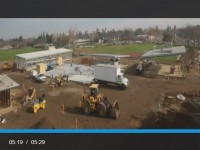 Construction progress at the new Sylvan Middle School campus is shown in this screenshot from a timelapse video available online. Credit: Clark/Sullivan Construction