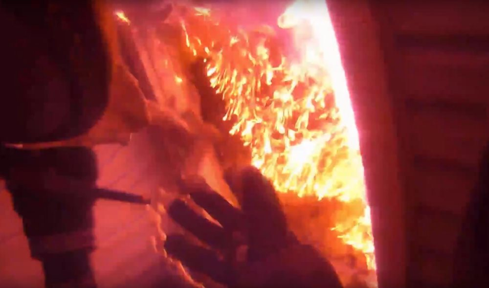 fire helmet cam shows firefighters dousing citrus heights. Black Bedroom Furniture Sets. Home Design Ideas