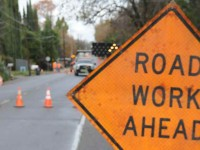 File photo, road work construction sign.