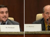 Candidate Marcel Weiland, left, and incumbent Jeff Slowey, right, speaking at a candidate forum in September. // CH Sentinel