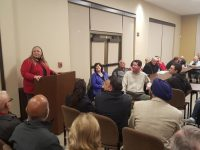 Mayor Jeannie Bruins addresses a standing-room-only audience of residents concerned about a new ARCO proposed on Sunrise Boulevard. // CH Sentinel