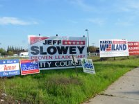 Candidate signs for local elections in Citrus Heights dot a vacant patch of land across from Applebee's on Auburn Boulevard. // CH Sentinel