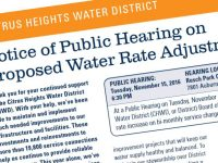 A Prop 218 notice informing Citrus Heights Water District customers of a proposed rate increase was sent out in September.