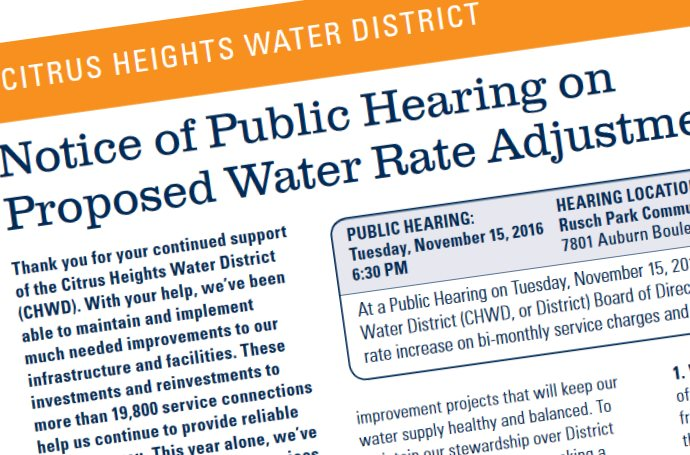 Citrus Heights Water District, rate increase