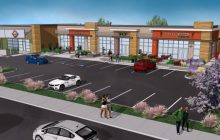 An architectural rendering of what the renovated strip mall adjacent to Nation's restaurant on Sunrise Boulevard will look like. // Credit: skwarchitects.com