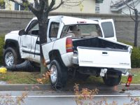 A Chevy Silverado ended up against off the road and against a tree in Citrus Heights, Wednesday morning. // CH Sentinel