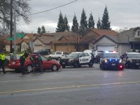 At least six police vehicles were observed responding to a multi-vehicle injury collision on Sylvan Road near Community Drive, Saturday. // CH Sentinel