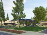 A rendering of the proposed new ARCO in Citrus Heights, as seen from Sunrise Boulevard. // Image courtesy, Barghausen Consulting