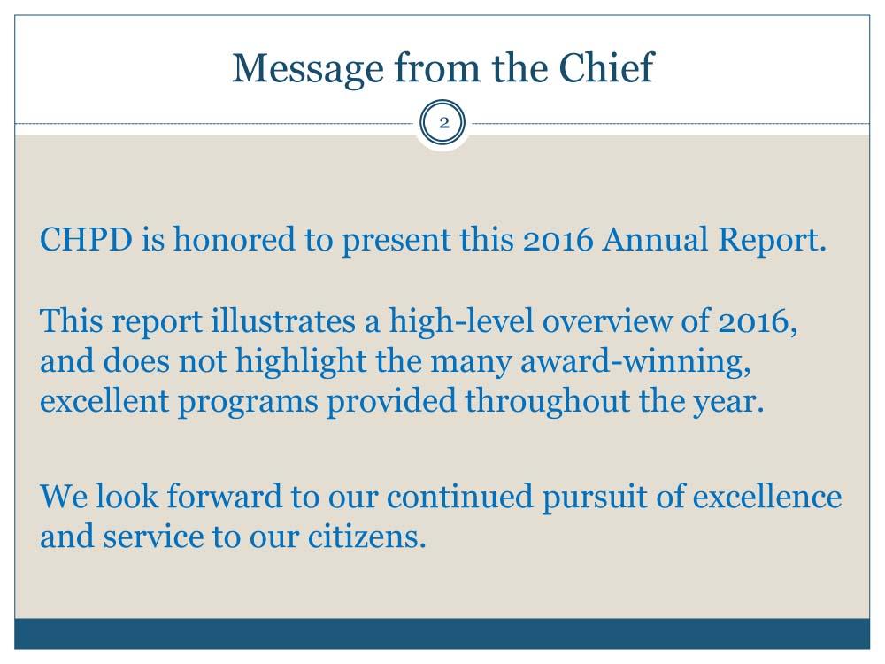 CHPD 2016 annual report, slide 2