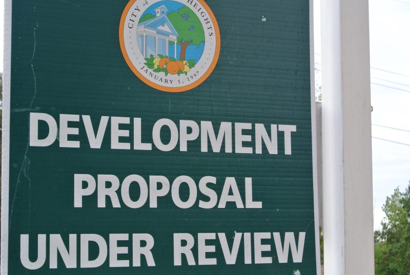 Development proposal under review sign