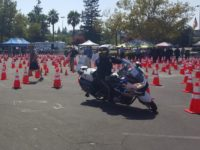 Officer Anthony Boehle navigates through a sea of cones at the Citrus Heights Police Department's Motorcycle Competition events on Saturday at Sunrise Mall. // CH Sentinel