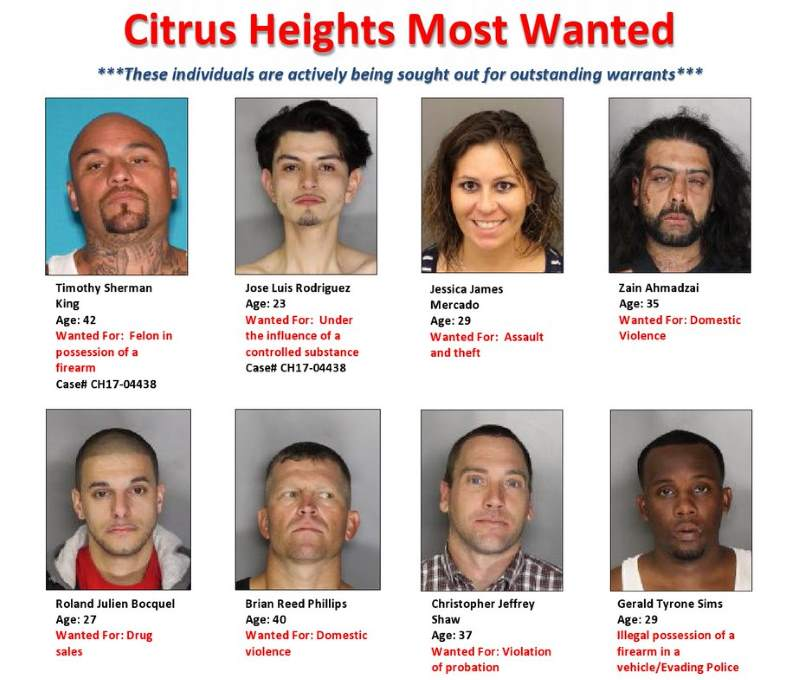 Citrus Heights Most Wanted: police release list of top local