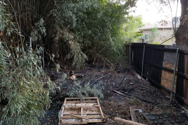 homeless camp, sycamore drive, fire