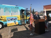 Citrus Heights Mayor Steve Miller speaks during a ribbon cutting event for SacRT's new SmaRT Ride pilot program. // Image courtesy, City of Citrus Heights