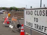 Signs direct traffic around construction work in the Stock Ranch Plaza in Citrus Heights. // CH Sentinel