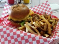 """An """"Old School Cheeseburger"""" order with fries, at Hamre's Giant Orange in Citrus Heights. // CH Sentinel"""