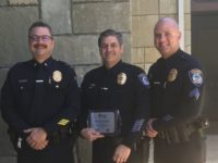 Citrus Heights Police Officer Dave Moranz, center, flanked by Lt. Dave Gutierrez, left, and Sgt. Chris Frey, right.