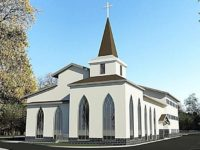 An architectural rendering of Pioneer Baptist Church's new building planned for the 7800 block of Auburn Boulevard in Citrus Heights. // Image credit: PBC