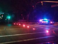 A Citrus Heights police unit blocks a section of Antelope Road off at Mariposa Avenue Thursday night, following a fatal collision. // CH Sentinel
