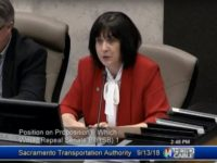 Supervisor Sue Frost speaks in support of Proposition 6, which would repeal the recent gas tax increase, during a Sept. 13 Sacramento Transit Authority meeting.