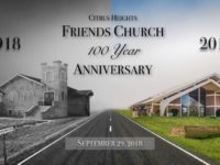 An advertisement for the Friends Church shows the former church building on Old Auburn Road, next to its newer building on Woodmore Oaks Drive.