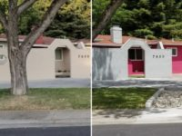 The prominent, pink-colored house at the corner of Antelope Road and Rosswood Drive in Citrus Heights has been repainted. // CH Sentinel