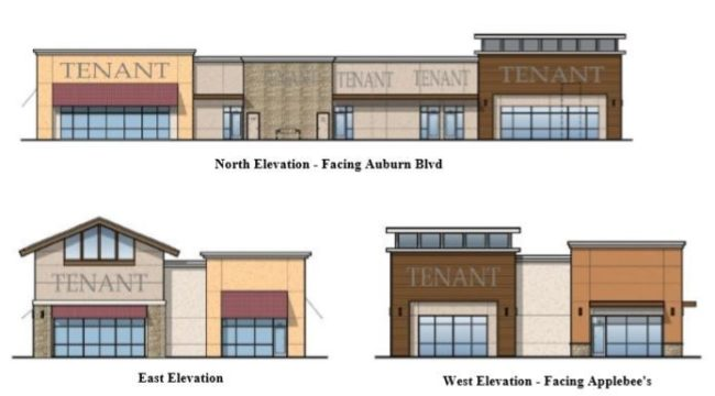 Designs approved by the City show color schemes and elevations for a new 8,700-square-foot building along Auburn Blvd.