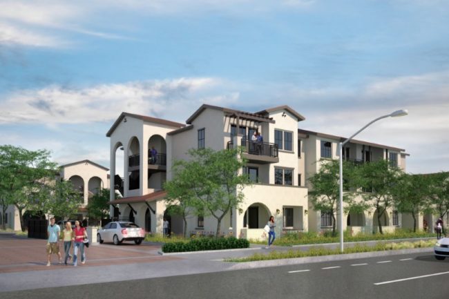 A conceptual view provided by the developer shows plans for a 47-unit apartment complex at 7424 Sunrise Blvd. // Image courtesy: Jamboree