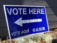 A sign directs residents where to vote during the 2018 primary election in Citrus Heights. // CH Sentinel