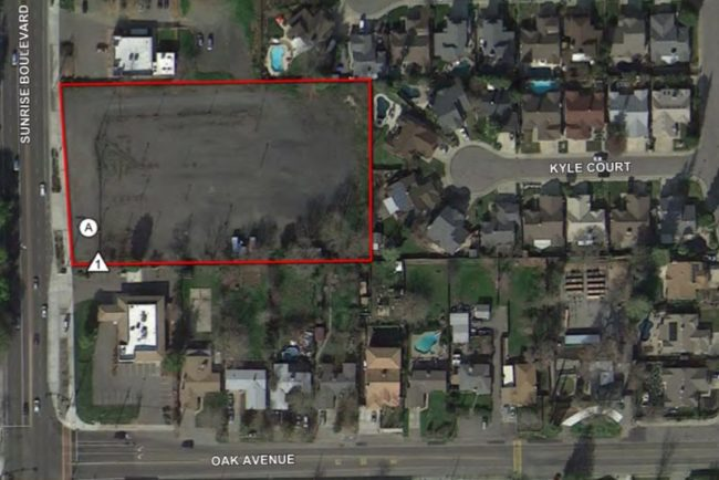 A map provided in Planning Commission documents shows the proposed project site for a 47-unit low-income housing development at 7424 Sunrise Blvd.