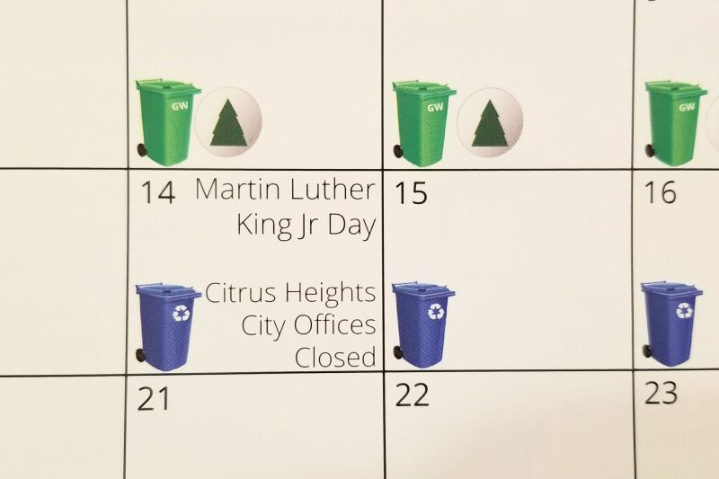 Calendar, Citrus Heights, trash