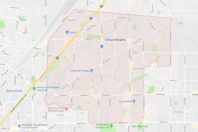 Map of Citrus Heights. // Image source: Google