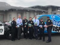 Members of the Citrus Heights Police Department pose for a photo on Jan. 29, 2019, while donating bike helmets to The Fish. Helmets will go to survivors of the Paradise fire. // Credit: CHPD
